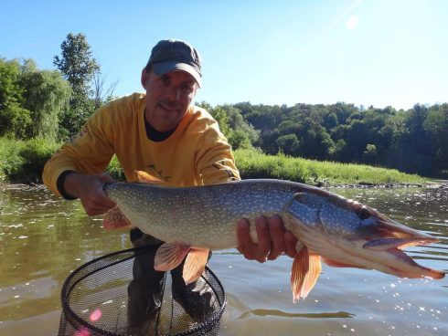 Fishing for river pike in Ontario