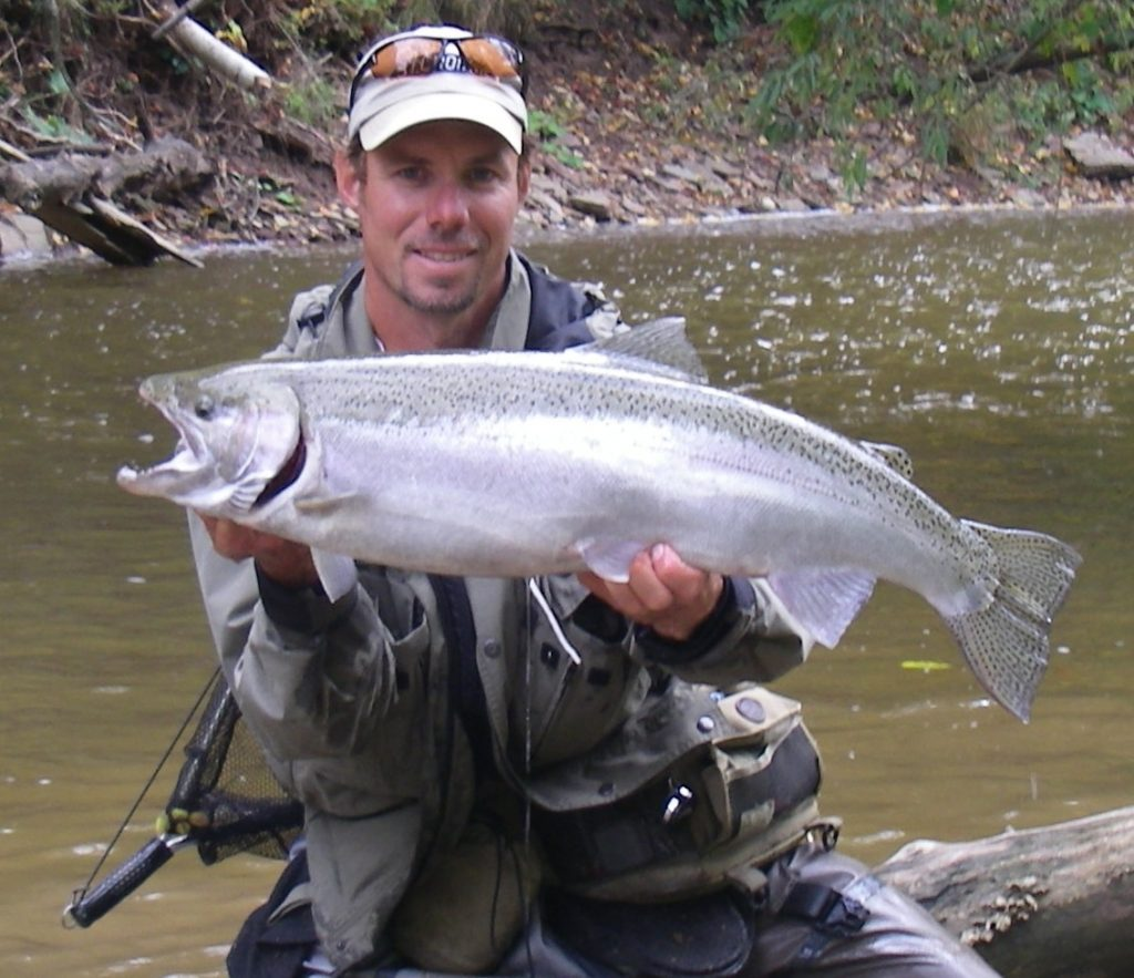 Guide Graham with a Bronte Creek steelhead