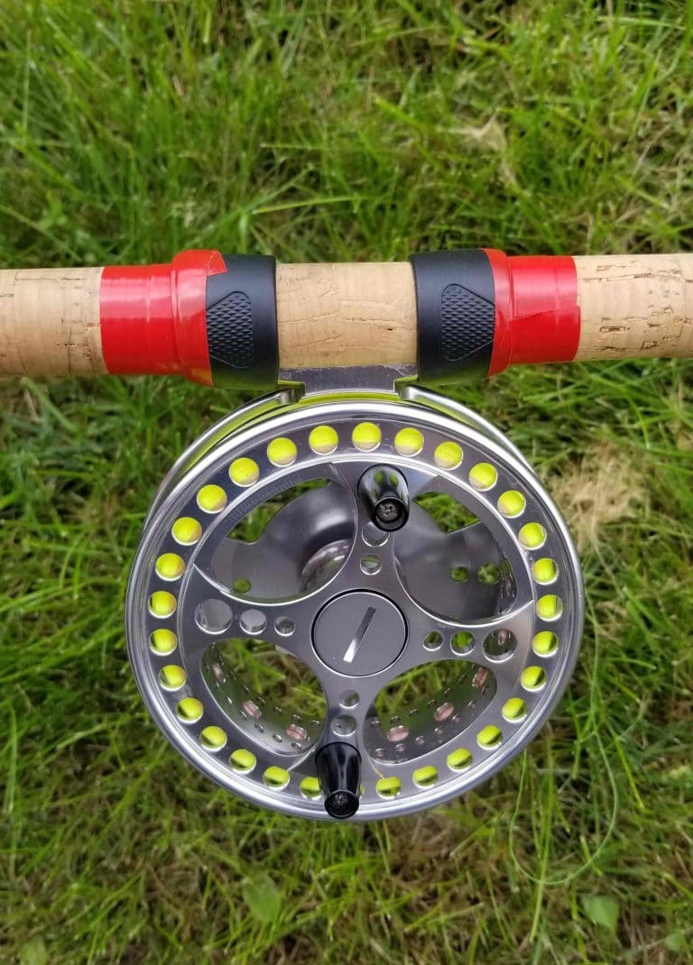 Centerpin reel with sliding rings taped.