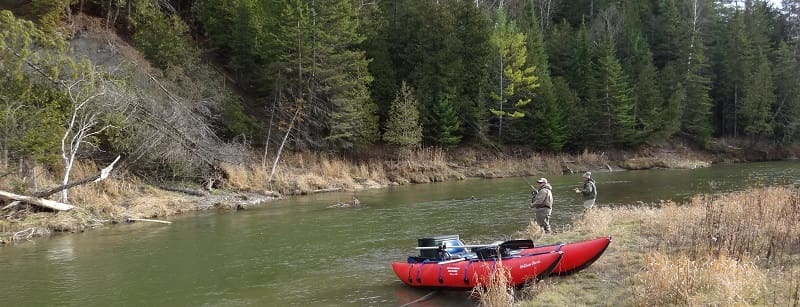 Fly fishing in the spring for Ontario steelhead
