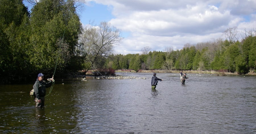 A fly fishing class on the Grand River Ontario