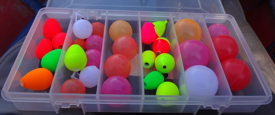 A box of indicators for fly fishing
