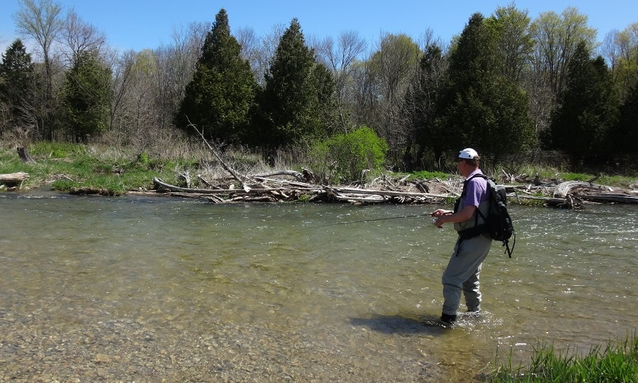 Spin fishing for Ontario rainbow trout