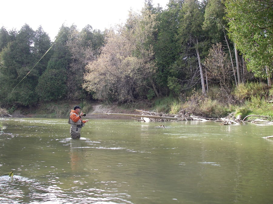 An angler steelhead fishing on the Trout Opener