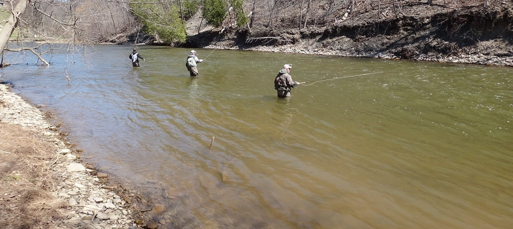 Angler fishing the steelhead on The Lower Credit River
